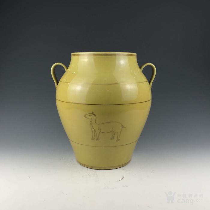 清早期 黄釉金彩狗纹双系罐图1