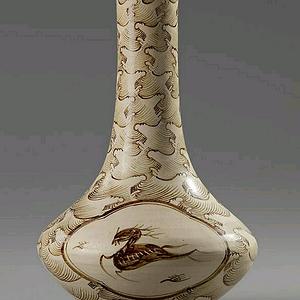 吉州窑开光鹿纹长颈瓶