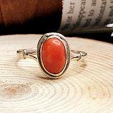 德国1960年左右天然意大利红珊瑚老银戒指 简单时尚