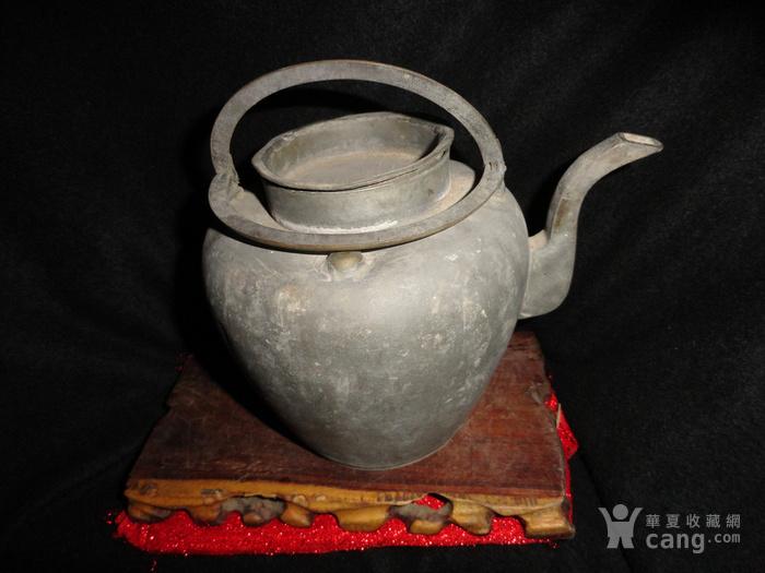 清传世双精铜提把.老锡茶壶。图4