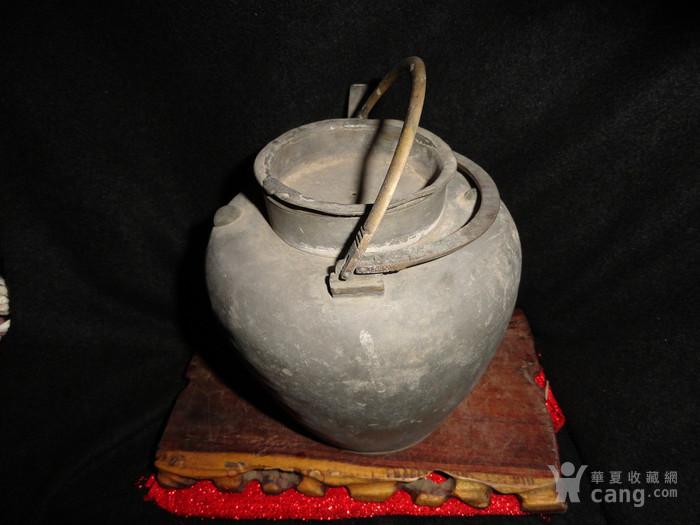 清传世双精铜提把.老锡茶壶。图5