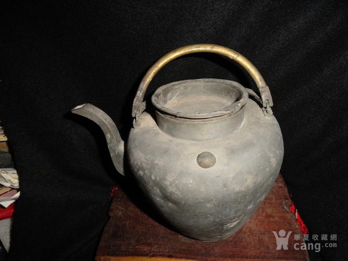 清传世双精铜提把.老锡茶壶。图6