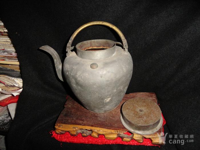 清传世双精铜提把.老锡茶壶。图7