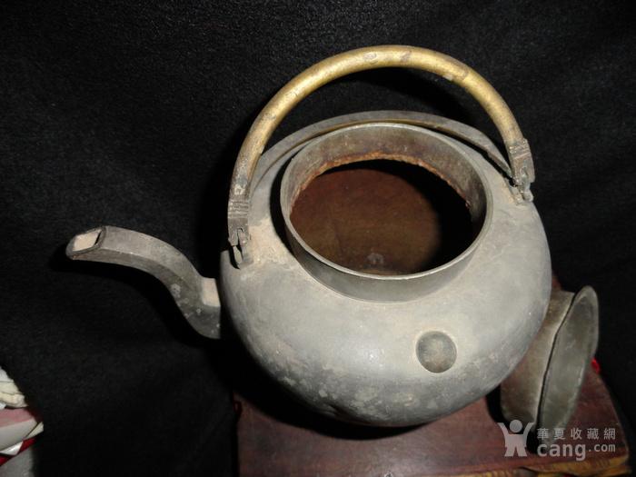 清传世双精铜提把.老锡茶壶。图8