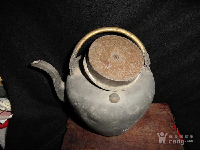 清传世双精铜提把.老锡茶壶。图10