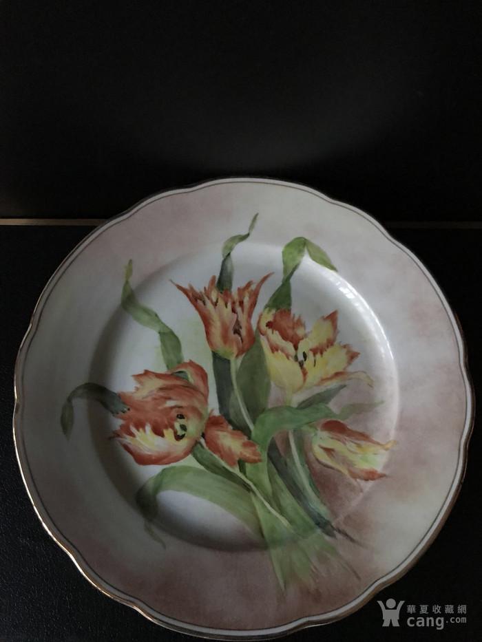 西洋手绘花卉瓷盘