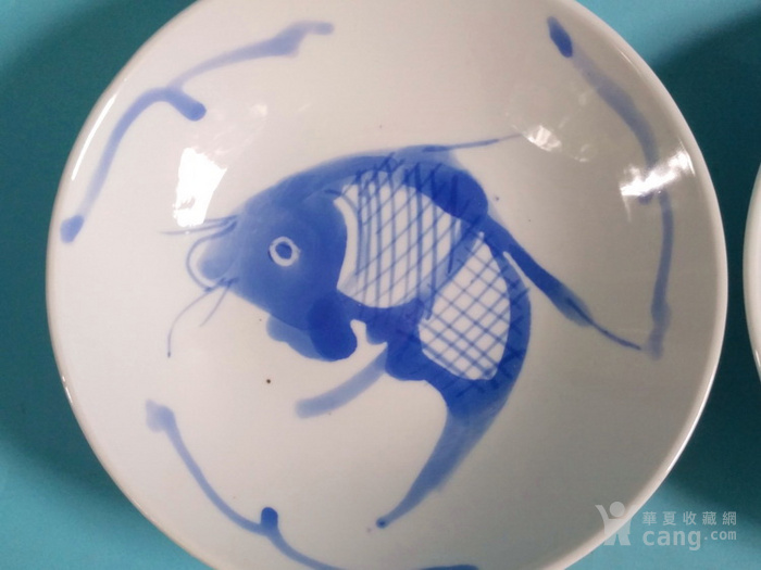 纯手绘,青花鱼盘一对 全品图8