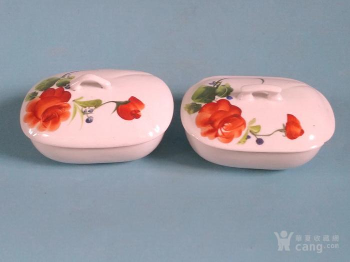 超美,纯手绘玫瑰盒一对 全品图2