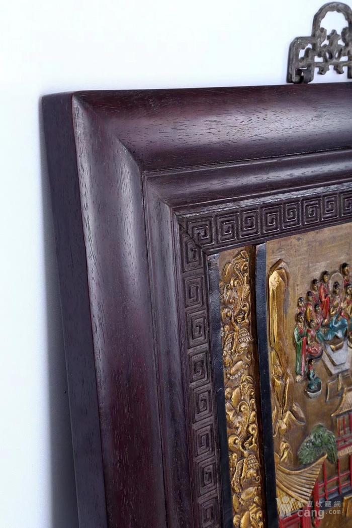 清代精铸铜胎浮雕精绘佛主讲经说法图唐卡壁画图8