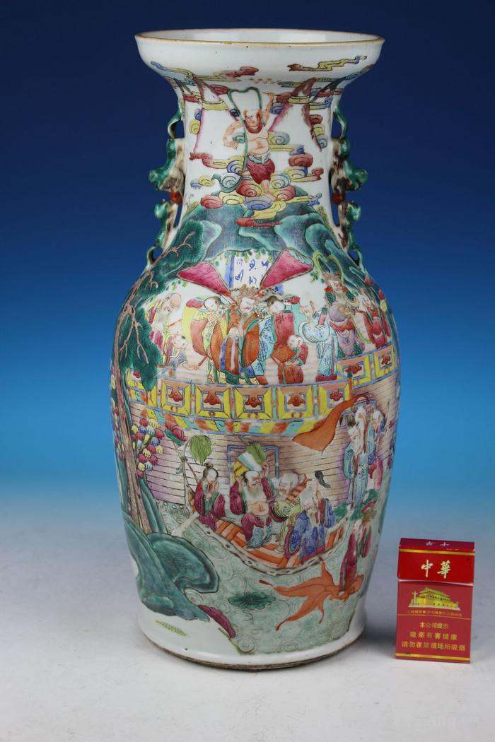 清同治通景粉彩 群仙荟萃 纹大瓶,高46cm图1