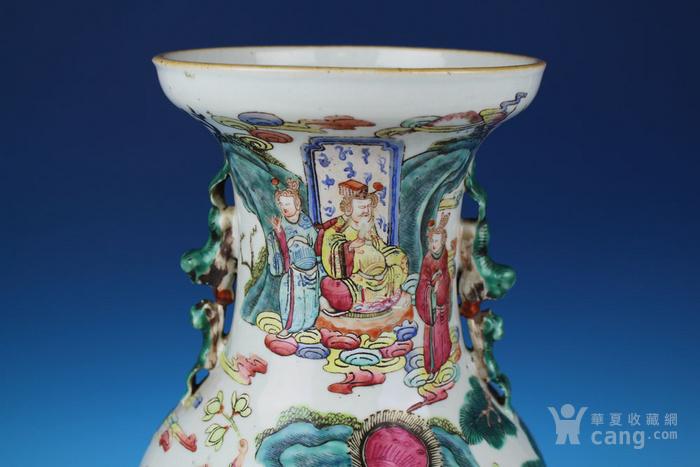 清同治通景粉彩 群仙荟萃 纹大瓶,高46cm图5
