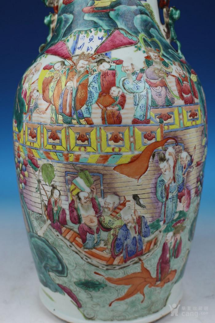 清同治通景粉彩 群仙荟萃 纹大瓶,高46cm图6