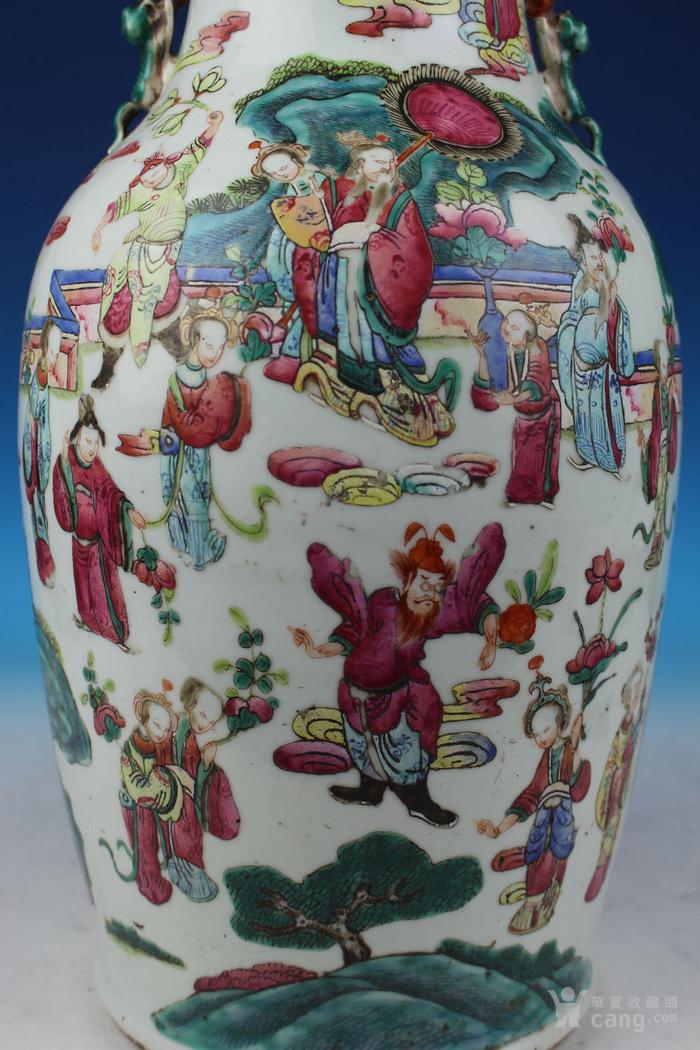 清同治通景粉彩 群仙荟萃 纹大瓶,高46cm图7