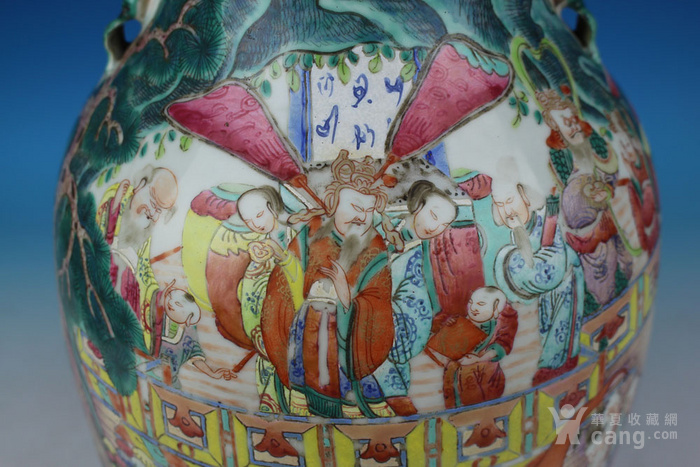 清同治通景粉彩 群仙荟萃 纹大瓶,高46cm图8