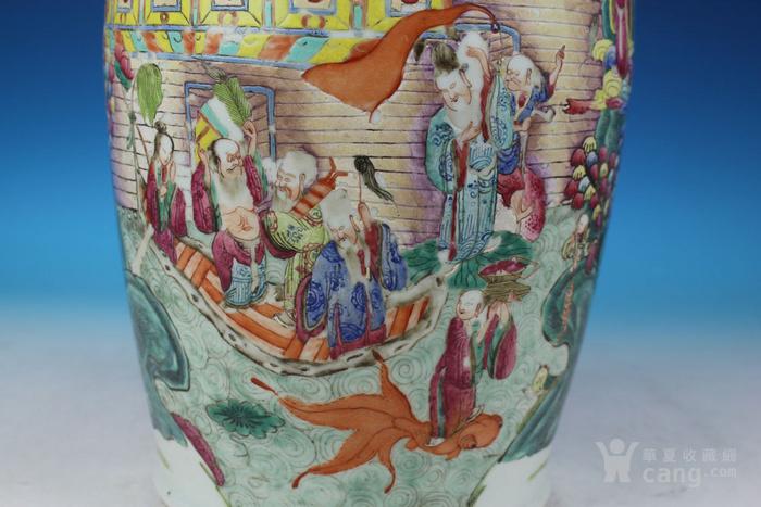 清同治通景粉彩 群仙荟萃 纹大瓶,高46cm图9