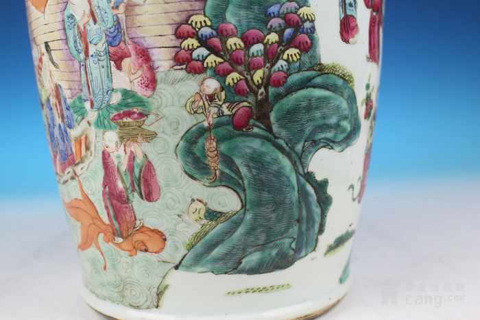 清同治通景粉彩 群仙荟萃 纹大瓶,高46cm图10