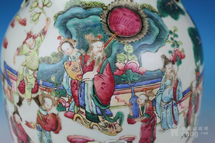 清同治通景粉彩 群仙荟萃 纹大瓶,高46cm图11