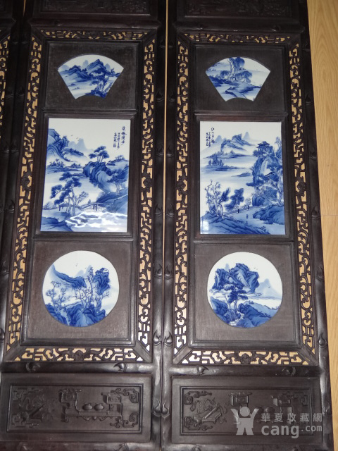 紫檀青花山水四条屏图3