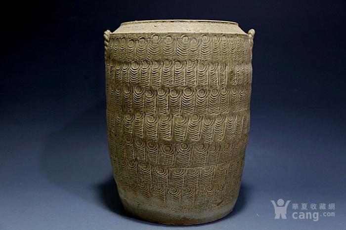 原始青瓷印纹筒形罐图1