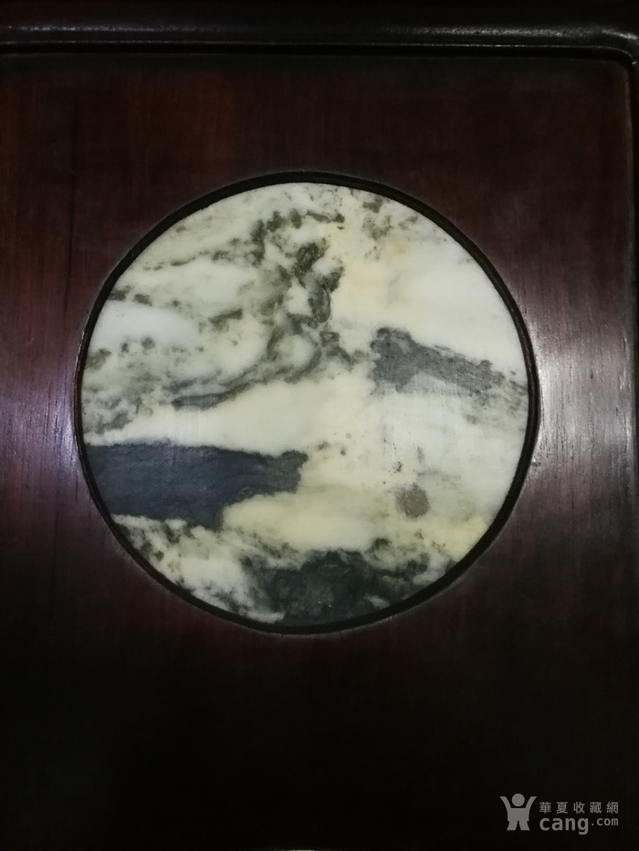 清代红酸枝木镶天然大理石四条屏图2