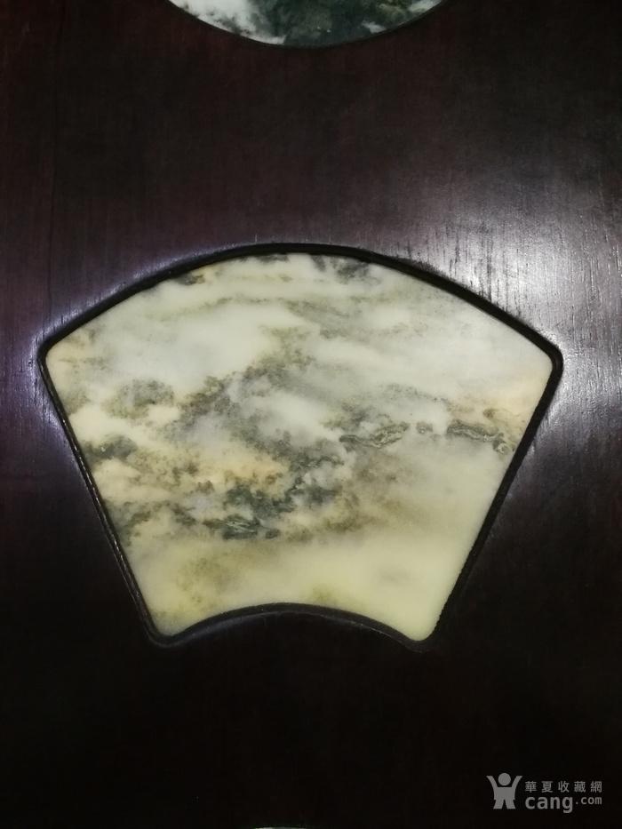 清代红酸枝木镶天然大理石四条屏图3