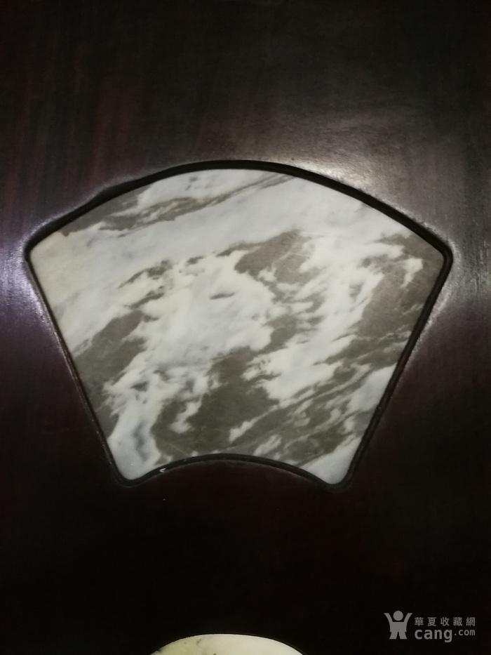 清代红酸枝木镶天然大理石四条屏图4