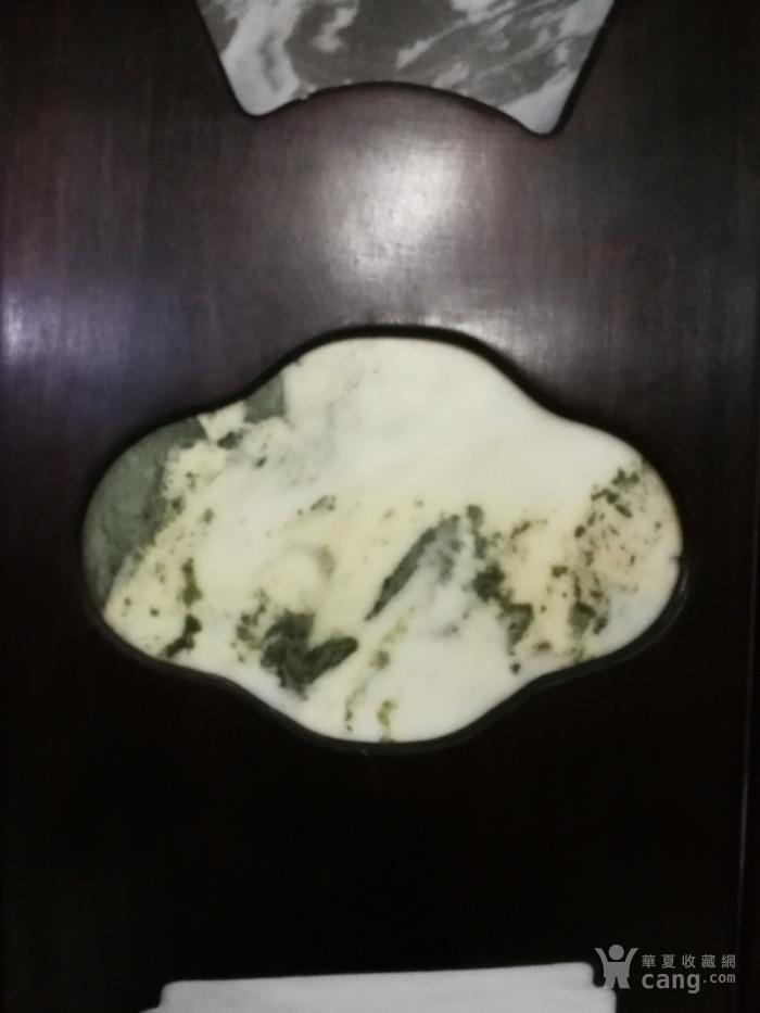 清代红酸枝木镶天然大理石四条屏图5