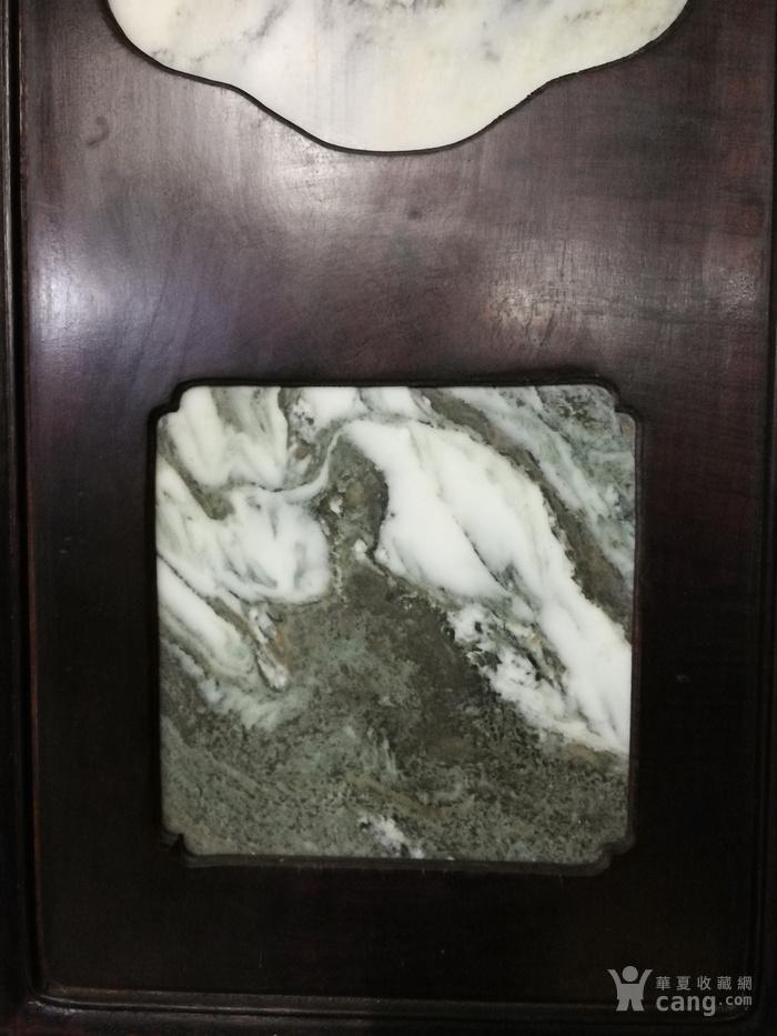 清代红酸枝木镶天然大理石四条屏图8