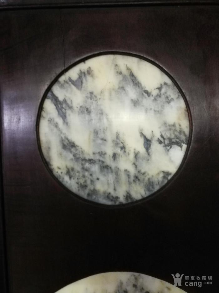 清代红酸枝木镶天然大理石四条屏图10