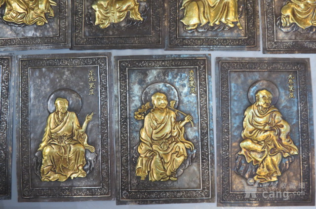 辽代纯银鎏金十六罗汉一套图3