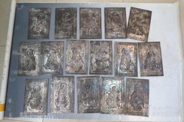 辽代纯银鎏金十六罗汉一套图10