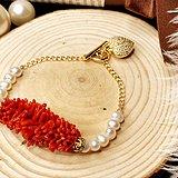 天然沙丁红珊瑚珍珠925银镀金手链
