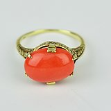 14K金英国皇冠珊瑚戒指