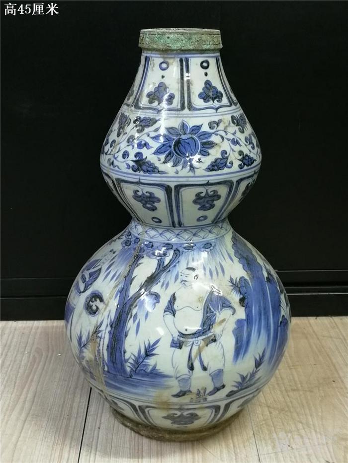 青花包铜口葫芦瓶图1