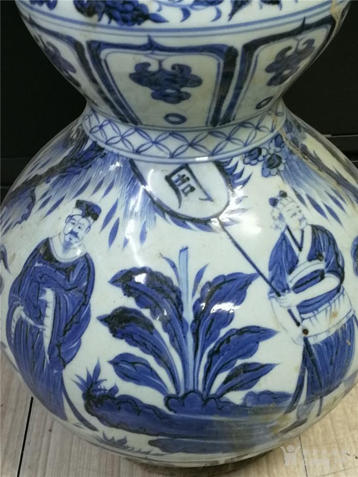 青花包铜口葫芦瓶图5