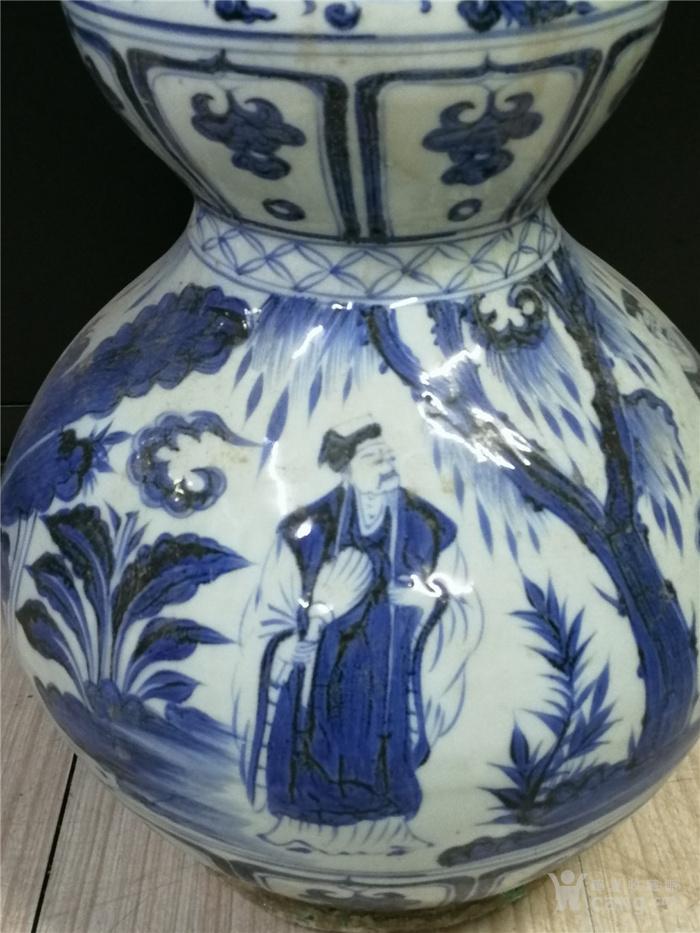 青花包铜口葫芦瓶图9