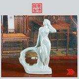 景德镇文革老厂瓷 单色釉雕塑浴女钟表架
