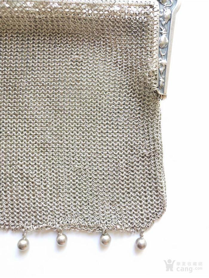 古董法国银丝镂空编织刻花女手袋提包
