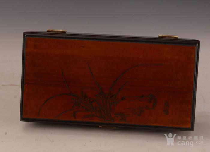 欧洲回流紫檀嵌竹黄雕花卉盒图2