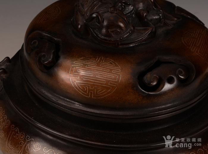 欧洲回流清紫铜掐丝双耳大香炉图2