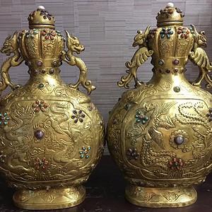 清 造办处铜鎏金龙凤瓶 高24cm
