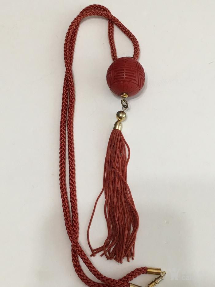 印第安河回流 创汇期剔红大珠流苏项链图1