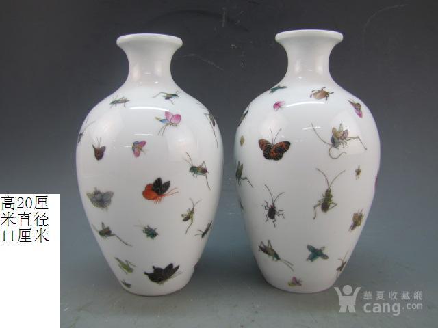 清代珐琅彩昆虫纹赏瓶一对图1
