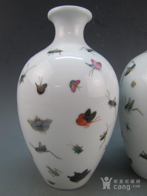 清代珐琅彩昆虫纹赏瓶一对图2