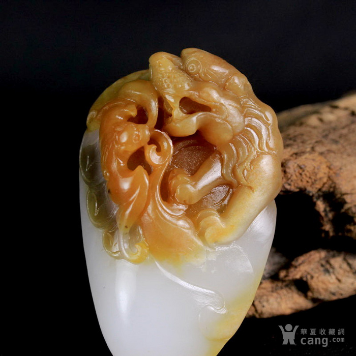 新疆和田玉油皮籽料白玉辟邪灵兽貔貅把件图2