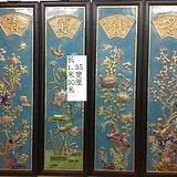 清代铜胎珐琅花鸟鎏金四条屏