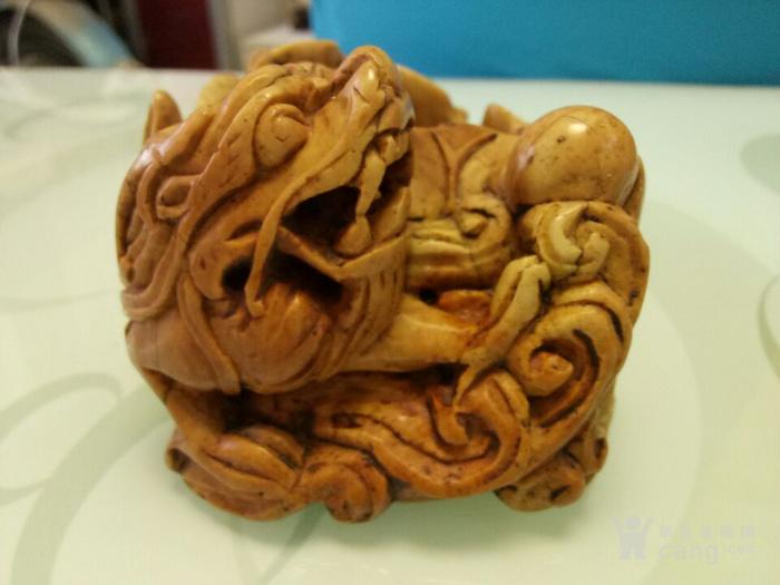 明清青田石兽形笔洗 鲤鱼跳龙门笔洗 手工雕刻图3