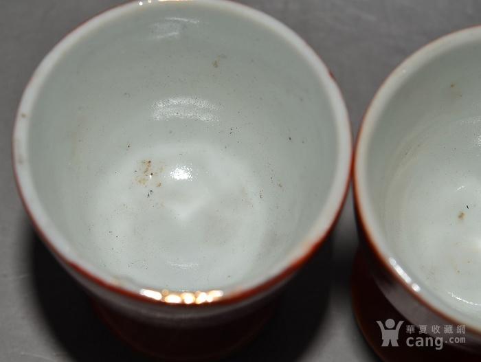 成对的老瓷器 漂亮完整的老民国珊瑚红釉鎏金富贵花开酒杯一对图6