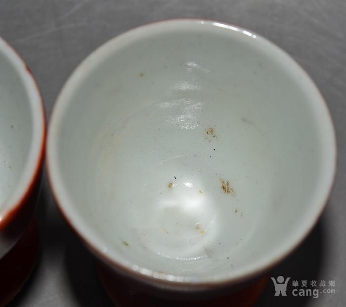 成对的老瓷器 漂亮完整的老民国珊瑚红釉鎏金富贵花开酒杯一对图7