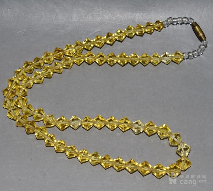 收藏几十年 香港回流精品 出口创汇时期老黄水晶项链佩饰收藏品图1